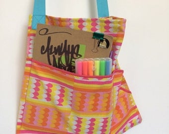 Colour pop-tastic bag in pink, yellow, orange print made from vintage fabric