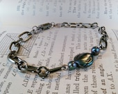 Men's Chain Bracelet With Black Coin Pearl