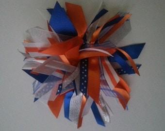 Orange, Royal Blue, Silver, and White Ribbon Ponytail Streamer