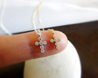 Tiny Gold Cross Necklace,Small Cross Necklace,Diamond Cross Necklace,Tiny Cross Necklace,Confirmation Necklace,Communion Gift For Girls
