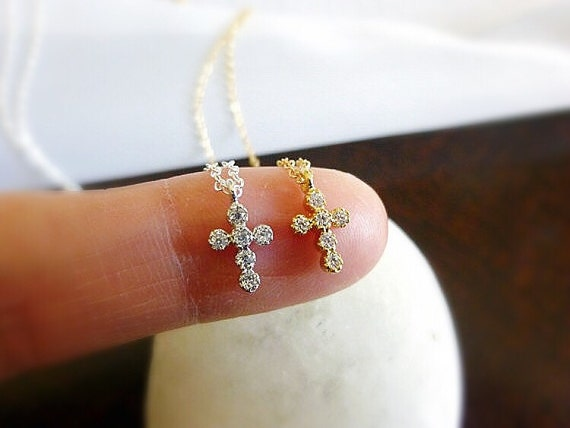 Tiny Gold Cross Necklace-Small Cross Necklace-diamond CZ Cross-Tiny Cross Necklace-cross neckalce for girls-confirmation, communion necklace