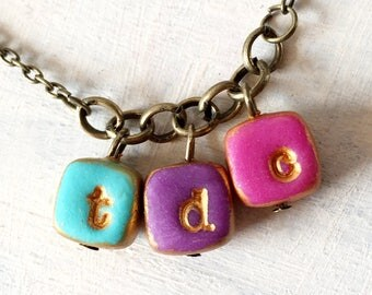 Color blocks, Hip Letter Necklace for fun Mama, stamped Initial, Gift for Mom, Simple Fun Jewelry Mother's Day, 2, 3, 4, 5 kids Necklace