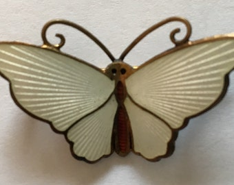 Sale Vintage David Andersen Butterfly Brooch Guilloche Enamel