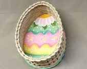 Large Egg Shaped Basket with Painted Wood Base, Easter, Hand Woven