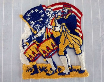 """Vintage Big 3.1"""" Sew On Fife and Drum Spirit of '76 Patch, USA Bicentennial Patriotic Applique, Betsy Ross Flag, 4th July Collectible"""