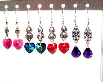 Assorted Dangle Earrings, Delicate, Dainty Swarovski Crystal Heart Earrings, Available in 4 Colors, Select Ear Wires
