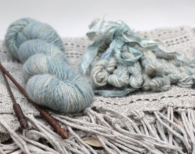 """Yarn Cashmere Mink Emma hand-spun hand-dyed """"Whisper"""" with additional free sample miniskeins"""
