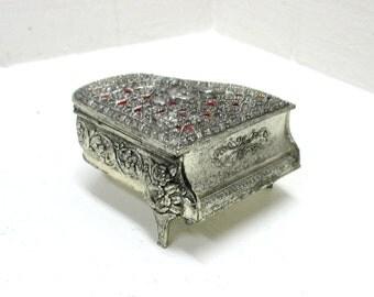 Vintage Silver Tone Piano Music & Jewelry Box