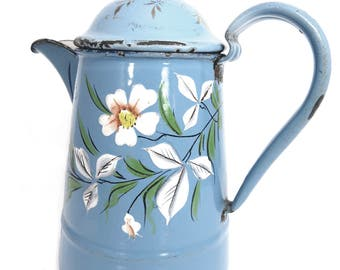 Art Deco Sky Blue Enamelware Coffee Pot or Tea Pot, Floral Design, Made in Germany,