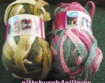 New Listing - Easy Knit Yarn - La Scarf - 100 G - 1946 - Pink and Grey - and 637 Browns - Price Is For Each - State Color