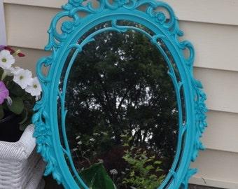 ON SALE OVAL Mirror, Ornate Mirror,Seaside Aqua Wall Mirror, 29 x 18 Or Choose Color ,Nursery Mirror