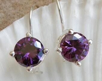 Amethyst Jewelry , Amethyst Sterling Silver Earrings , Amethyst Earrings Gift For Her , Purple Gemstone Silver Earrings