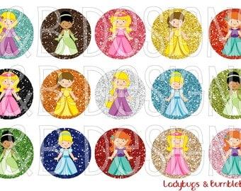 "1"" Bottle Cap Image Sheet - Princesses"