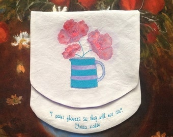 Pretty pouch or 'wall bag' with embroidered and richly painted poppies in a devon jug