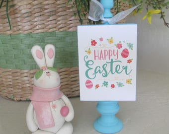Happy Easter Standing Wooden Sign  - Easter - Wooden Easter Sign