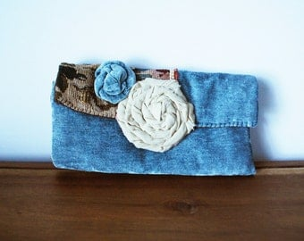 CLEARANCE-- Dusty Blue Trifold Velvet Cloth Clutch with Rosettes