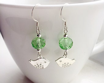 Green Bird Crystal Earrings