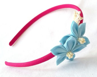 Cute Magenta and Sky Blue Flower Girl Headband with Kanzashi
