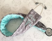 Personalized Stethoscope Cover, Registered Nurse, Gift for Nurse, Veterinarian Gift, EMT, Paramedic, Vet Tech - Gray Arrows with Aqua