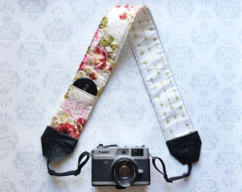 Personalized DSLR Camera Strap, Padded, Lens Cap Pocket, Nikon, Canon, DSLR Photography, Photographer Gift, Wedding - Vinyage Floral & Arrow