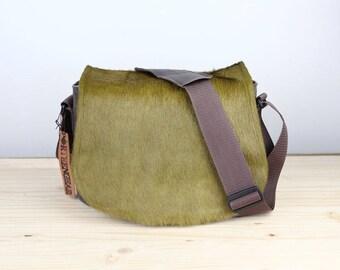 Medium Lime Cow Hair Leather Camera Satchel Bag DSLR- IN-STOCK