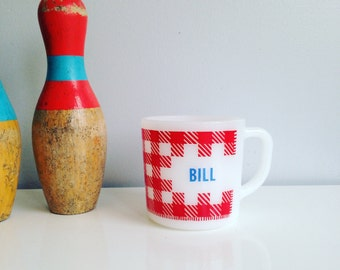 Vintage Westfield Milk Glass Mug - for Bill - Red and White Gingham Print