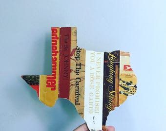 Vintage Book Spine Wall Hanging - Handmade with vintage book dust jacket spines - Texas - ready to ship !
