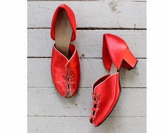 Red Satin Heels 7 • 40s Shoes • Daniel Green Slippers • Red Heels • Satin Shoes • Vintage Slippers • Satin Slippers • Red Shoes | SH416