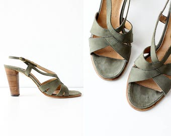 Strappy Sandals 7 • 70s Sandals • Wood Heel Sandals • Suede Sandals • High Heel Sandals • 70s Shoes • Green Sandals | SH379