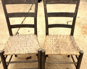 Antique Farmhouse Chairs, Splint Seats, Primitive Pair of Chairs, Rustic Log Cabin Chairs, Slat Back