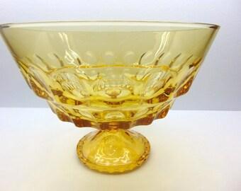 Vintage Gold Glass  Pedestal  Bowl