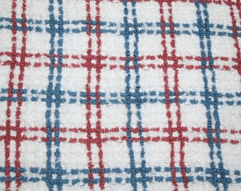 28 x 28 Inches - Deep Rose, Blue and White Plaid Cabin Crafts Vintage Chenille Bedspread Fabric