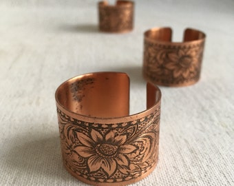 Vintage copper napkin rings  stamped copper