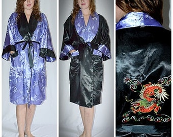 Vintage Asian Lavender Printed Satin Reversing to Black Embroidered Satin Robe Uni Sex 45 Inch Chest