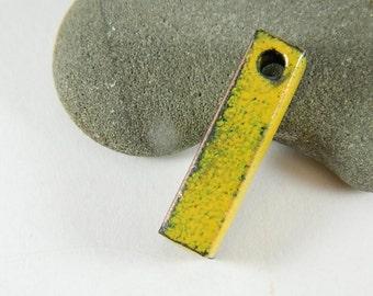 Yellow Rustic Enameled Rectangle Drop/Dangle/ Pendant