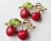 2 Vintage 50s Gold Metal & Red Enamel Cherry Cherries Fruit Brooch Pins