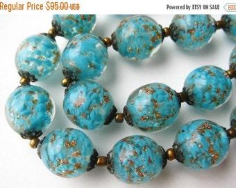 HOLIDAY SALE Vintage 50s Italian Venetian Blue Art Glass Murano Gold Fleck Bead Necklace