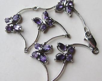 Vintage Sterling Silver Amethyst Butterfly Chain Link Bracelet