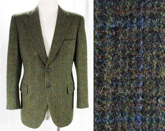 Harris Tweed Men's Suit Jacket - Mens Size Medium 1960s Blazer - Handwoven Scottish Wool - Olive Green Black Orange Blue - Chest 42 - 48491