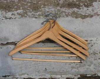 rustic wooden suit hangers set of 4 adjustable rods batts nagel mid century closet