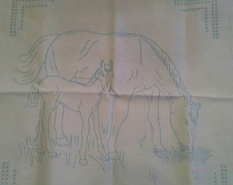 """Stamped Cross Stitch Embroidery Fabric Panel,Set of 2 18' X 18"""" Horse, Foal, Filly, Colt X0764"""