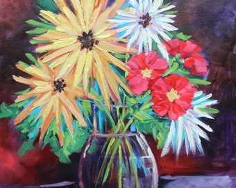 Original oil Painting, Flowers, Good for the soul, flower Art, Painting by Rebecca Beal