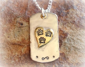 Sterling Silver Tripawd Cat or Dog Tag Pendant