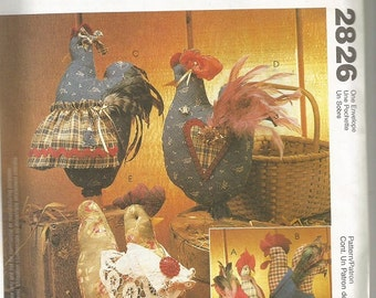 McCall's 2826   Rooster and Hen Pattern