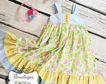 Girls Reverse Knot Dress Egg-cellent Collection Toddler Infant Girls