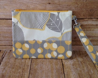 Large Wristlet with Strap - Fabric Zippered Wristlet - Amy Butler Optic Blossom Fabric - Yellow and Grey