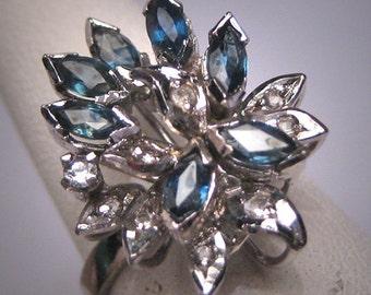Antique Vintage Sapphire Ring Retro Art Deco Wedding 1950