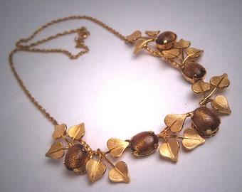 Antique Gold Stone Art Glass Necklace Vintage Art Deco Gold 1930 Wreath