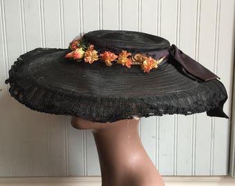 1940s Wide Brimmed Hat, Pancake, Cartwheel