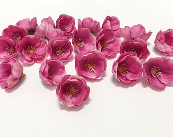 20 Artificial ROSE PINK Mini Poppies - Silk Flowers, Artificial Flowers, Hair Accessories, Flower Crown, Wedding, Millinery
